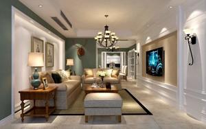 110平三居室美式古典风格客厅硬包背景墙装修效果图