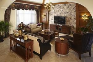 135平大户型美式风格客厅硬包背景墙装修效果图