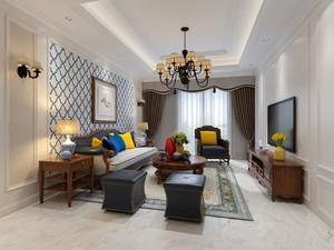 125平三居室美式风格客厅硬包背景墙装修效果图