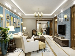 110平三居室美式轻奢风格客厅照片背景墙装修效果图