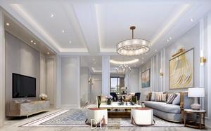 135平大户型现代美式风格客厅照片背景墙装修效果图