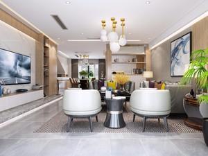 110平三居室美式风格客厅照片背景墙装修效果图