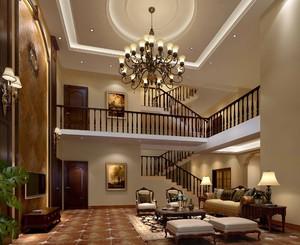 420平别墅美式风格挑高客厅背景墙装修效果图