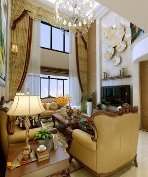 350平别墅美式古典风格挑高客厅背景墙装修效果图
