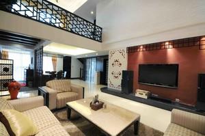 450平别墅中式简约风格挑高客厅背景墙装修效果图