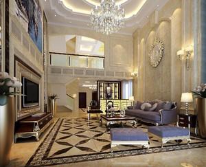 600平别墅美式奢华风格挑高客厅背景墙装修效果图