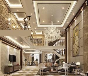 560平别墅新中式风格挑高客厅背景墙装修效果图