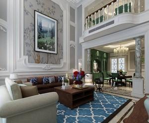 350平别墅美式古典风格中空客厅背景墙装修效果图