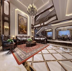 450平别墅美式风格中空客厅背景墙装修效果图