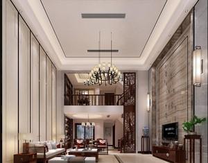 500平别墅新中式风格中空客厅背景墙装修效果图