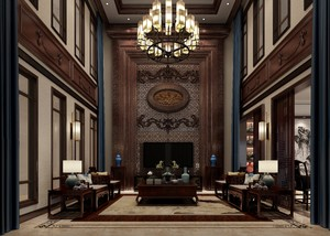 700平别墅中式风格中空客厅背景墙装修效果图