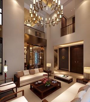 460平别墅新中式风格中空客厅背景墙装修效果图