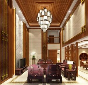 650平别墅中式风格中空客厅背景墙装修效果图