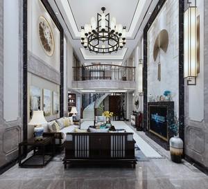 800平别墅中式风格中空客厅背景墙装修效果图
