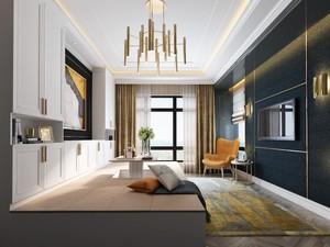 110平三居室美式轻奢风格客厅沙发榻榻米装修效果图