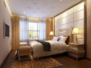 110平三居室欧式风格主卧电视背景墙装修效果图