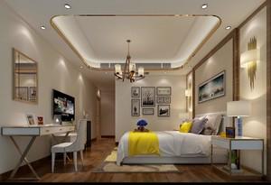 118平三居室现代轻奢风格主卧电视背景墙装修效果图