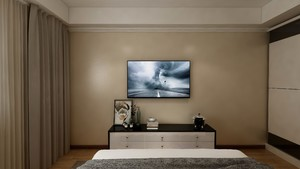 100平三居室简约风格主卧电视背景墙装修效果图