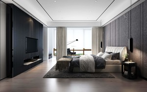 150平大户型现代极简风格主卧电视背景墙装修效果图
