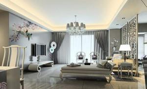 60平方跃层客厅沙发隔断装修效果图