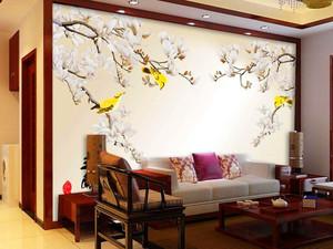 120平米客厅电视背景墙手绘装修效果图