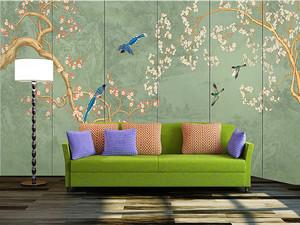 125平米客厅电视背景墙手绘装修效果图
