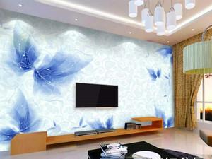 110平米客厅电视背景墙手绘装修效果图