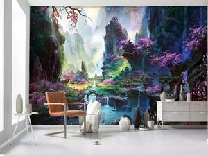 105平米客厅电视背景墙手绘装修效果图