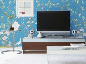 大户型客厅电视背景墙手绘装修效果图