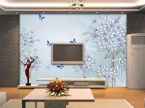 130平米客厅电视背景墙手绘装修效果图