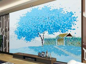 三居室客厅电视背景墙手绘装修效果图