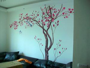 128平米客厅电视背景墙手绘装修效果图
