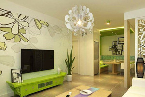 115平米客厅电视背景墙手绘装修效果图