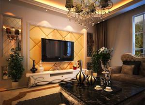 110平米客廳軟包電視背景墻裝修效果圖