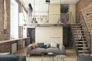 60平復式樓美式古典裝修效果圖