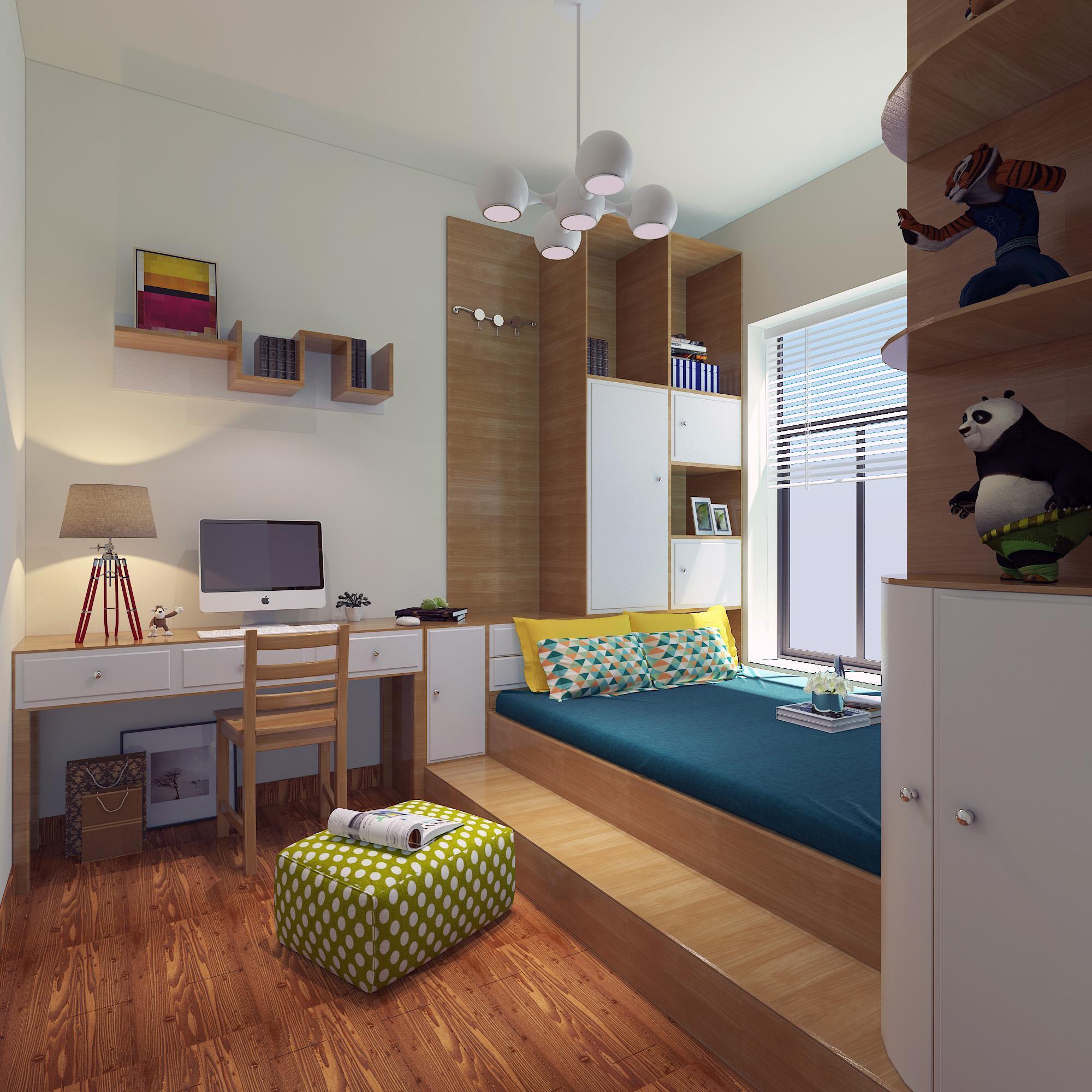 儿童榻榻米书房20平米现代风格装修效果图