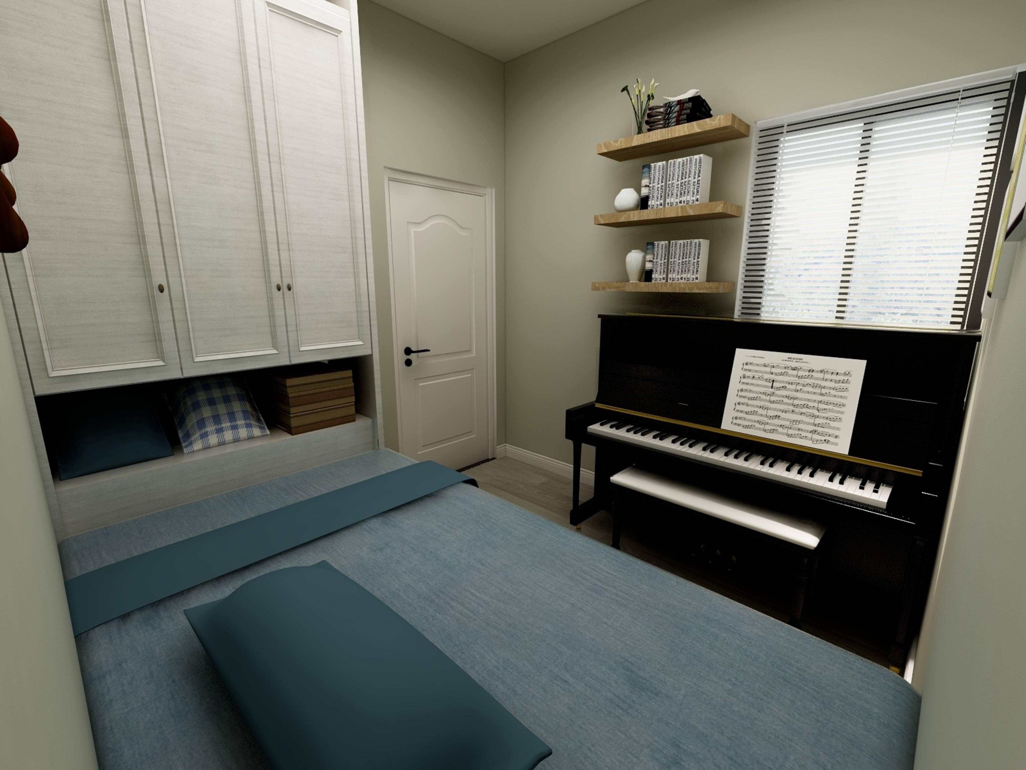 男孩臥室榻榻米17平米現代風格裝修效果圖