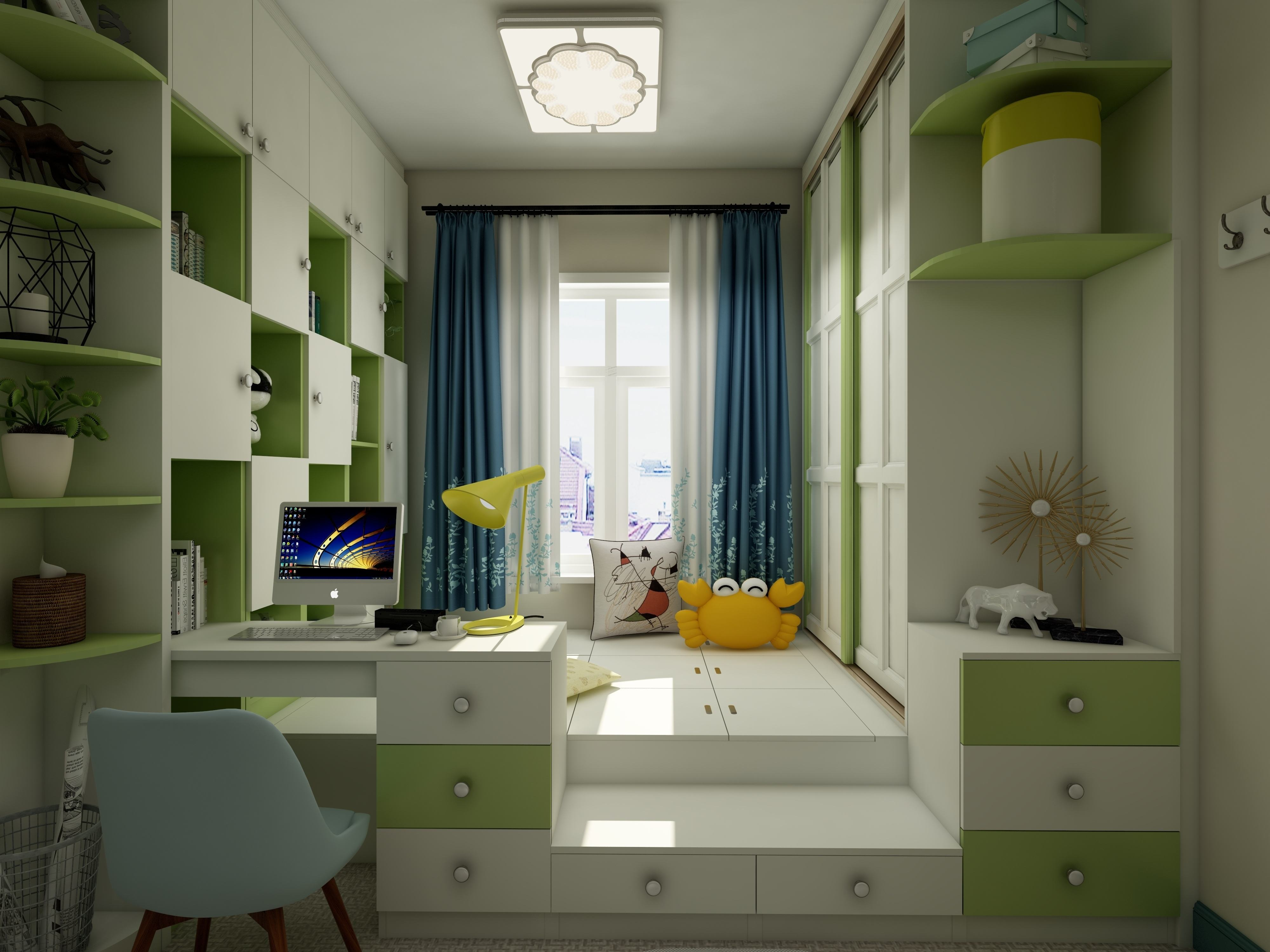 男孩卧室榻榻米现代风格18平米装修效果图