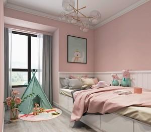 女儿房间榻榻米粉色系北欧风格装修效果图