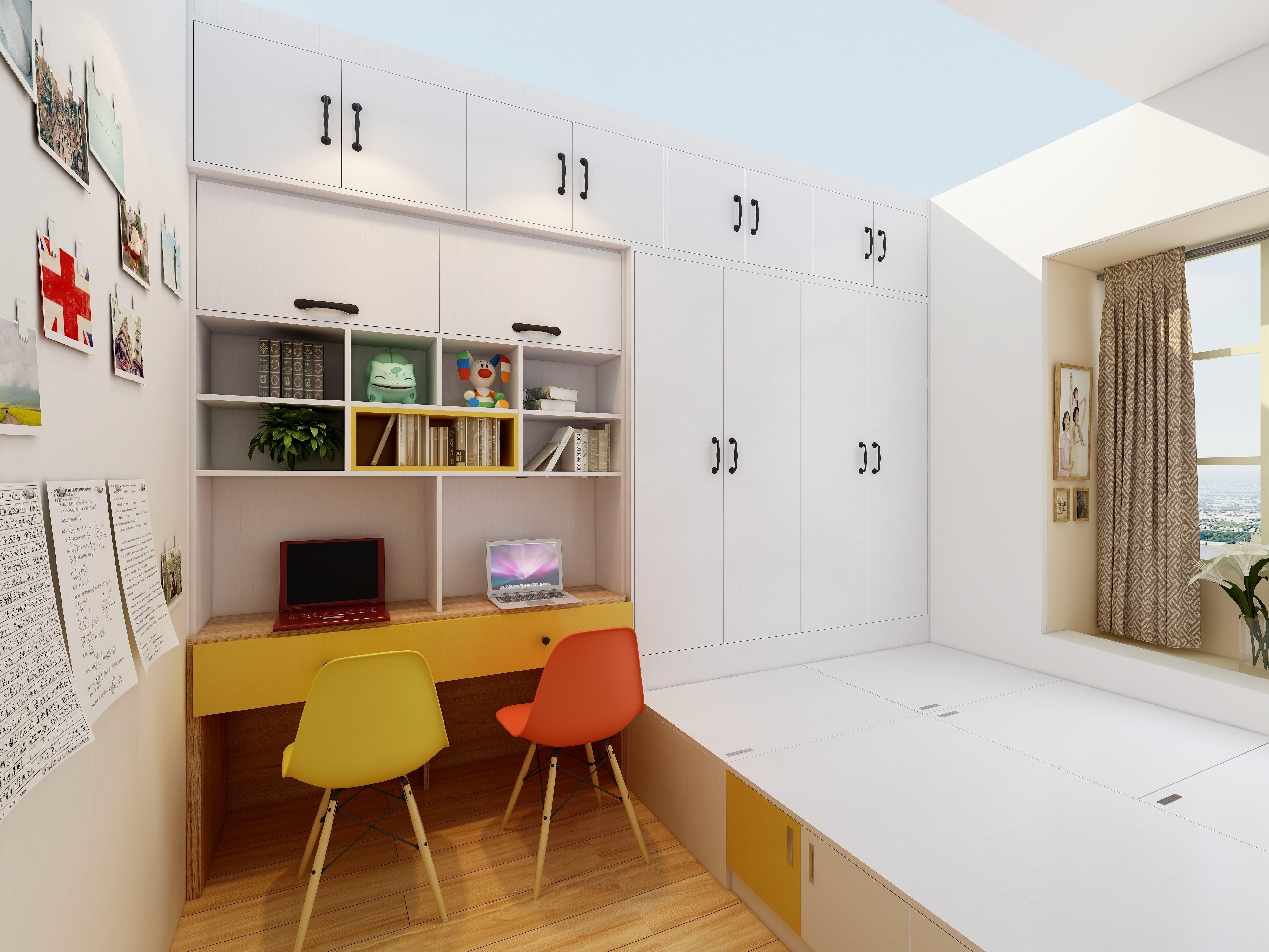 女儿房间榻榻米15平米现代风格装修效果图