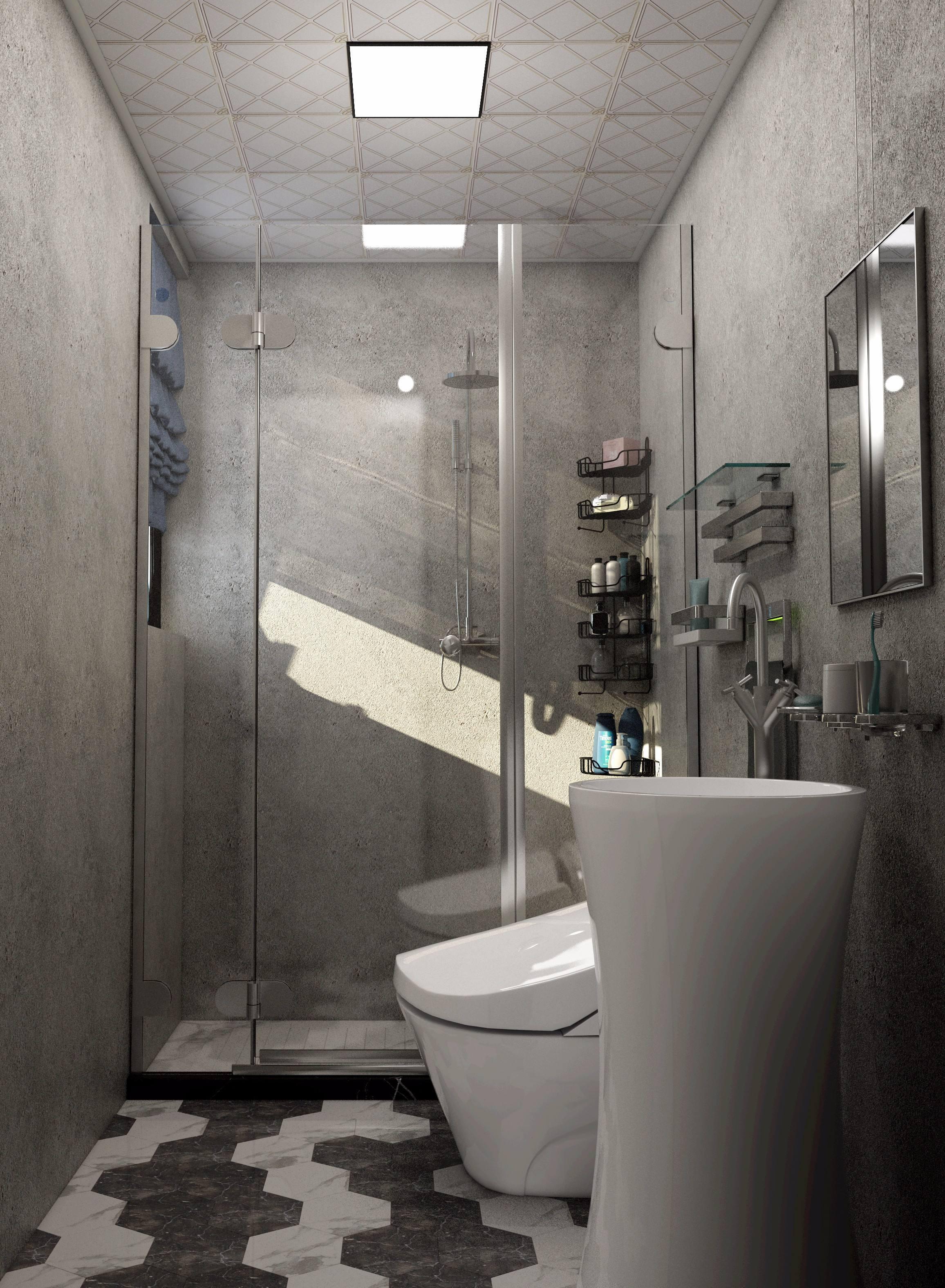 60平米房子混搭风格淋浴隔断装修效果图