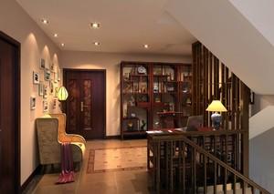 140平米復式中式風格不規則房屋書房裝修效果圖