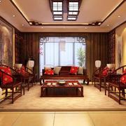 客廳中式背景墻110平米裝修