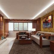 客廳中式背景墻90平米裝修