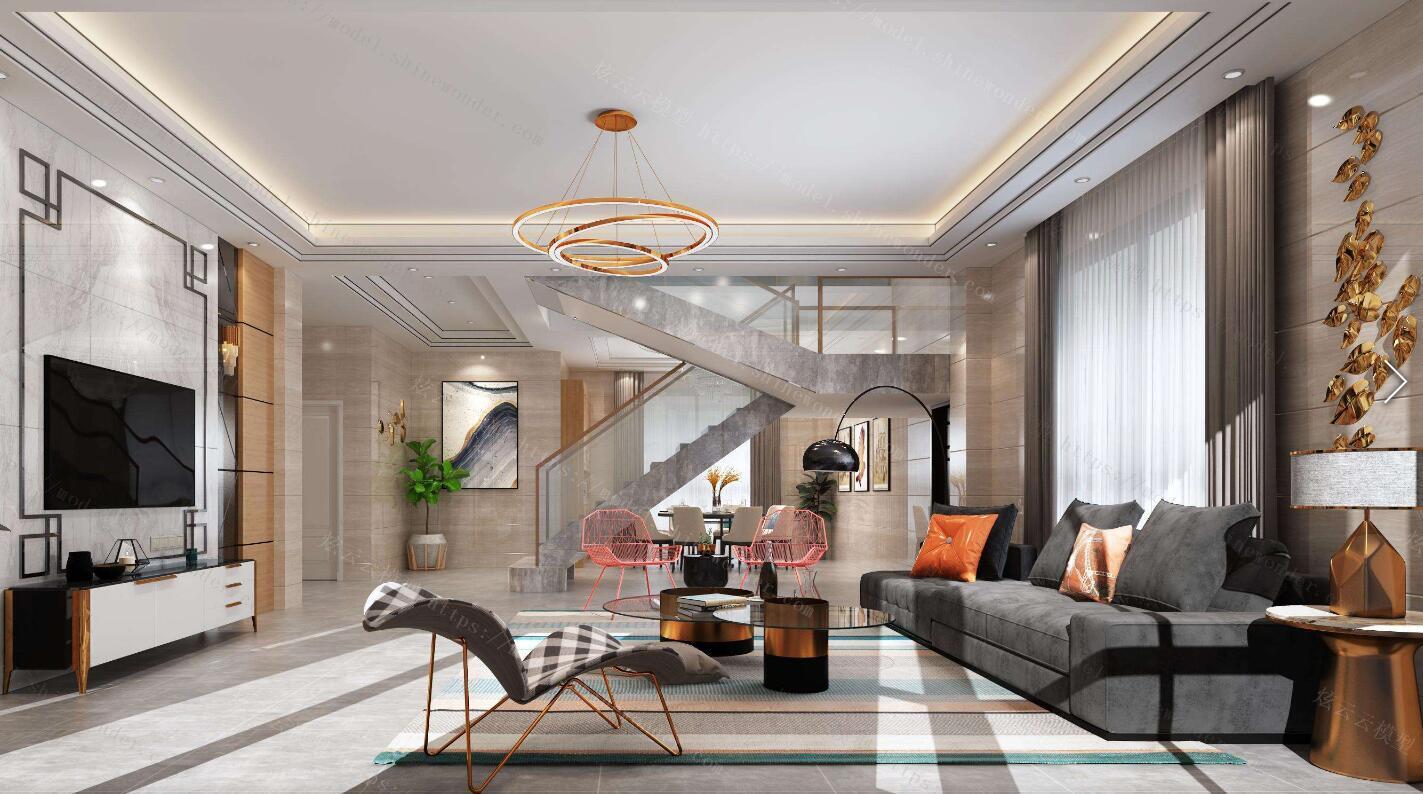 140平米現代風格復式樓走廊裝修效果圖
