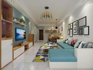 70平米房子新中式風格客廳吊頂筒燈裝修效果圖