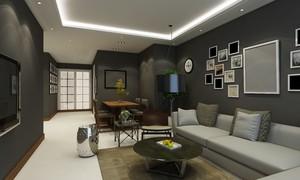 95平米房子现代欧式风格客厅吊顶筒灯装修效果图