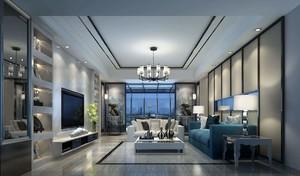 180平米躍層現代簡歐風格客廳吊頂筒燈裝修效果圖