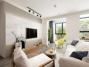 85平方房子简约欧式风格客厅射灯吊顶装修效果图
