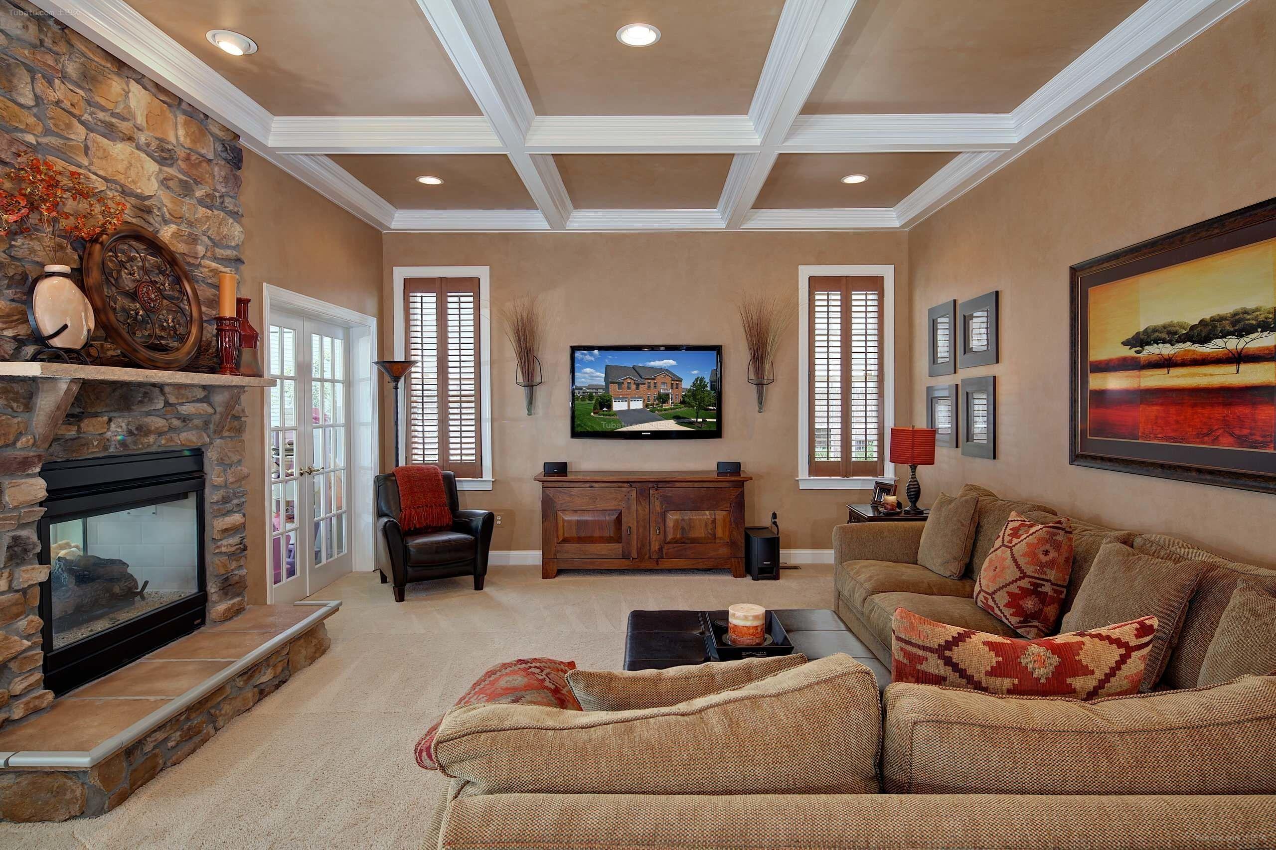 30平方復式簡歐風格客廳射燈吊頂裝修效果圖